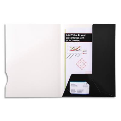 Chemise de présentation Exacompta Chromolux - 2 rabats - carte 250g - noir brillant - boîte de 20