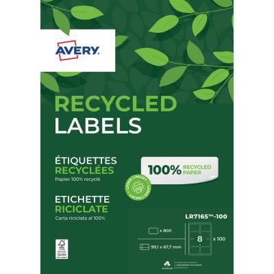 Etiquettes adresse laser recyclées Avery LR7165 - impression laser - blanc -  99,1 x 67,7 mm - boîte de 800