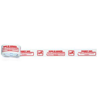Ruban adhésif d'emballage silencieux imprimé ''Bande de Garantie'' en polypropylène silencieux Raja - 28 microns - 50 mm x 100 m - blanc texte rouge - paquet de 6 unités