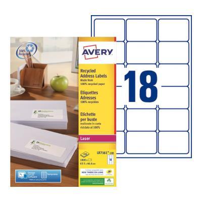 Étiquettes adresses recyclées LR7161 Avery - pour imprimante laser - 63,5 x 46,6 mm - blanc - 1800 étiquettes par boîte (photo)