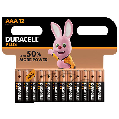 Pile Duracell AAA LR3 Plus Power alcalines - 1,5V - blister de 12 piles (photo)