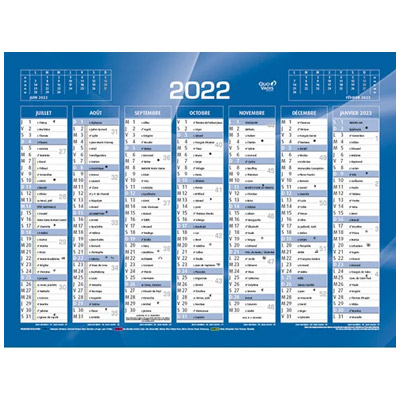 Calendrier 2020 mini - 7 mois par face - format mini : 13,5 x 17,5 cm - bleu ou rouge (photo)