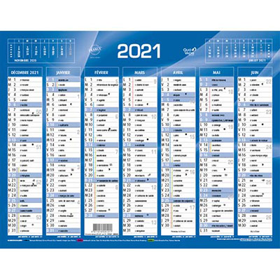 Calendrier 2020 7 mois par face - format: 21x26,5 cm bleu ou rouge (photo)