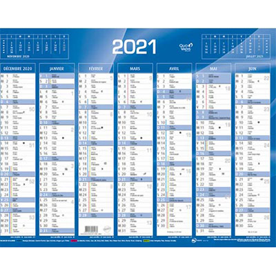 Calendrier 2020 7 mois par face - format 42 x 32 cm - bleu ou rouge (photo)