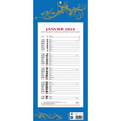 calendrier 2018 mensuel sur plaque 19 x 42 cm bleu achat pas cher. Black Bedroom Furniture Sets. Home Design Ideas