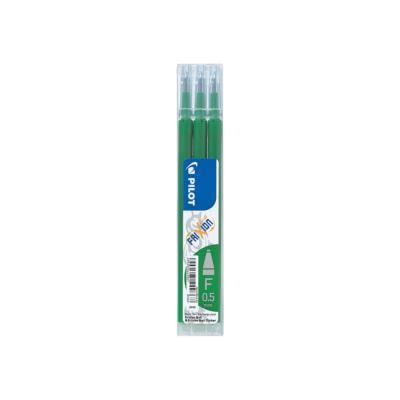 Recharge pour stylos Pilot FriXion Ball Clicker pointe fine - 0,5 mm - vert - lot de 3 - paquet 3 unités