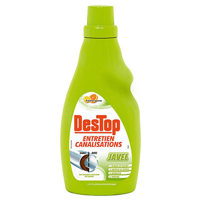 Eau de javel Destop pour entretien des canalisations - parfum citron pamplemousse - 750 ml