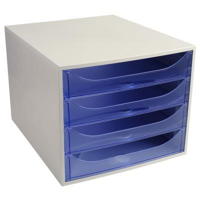 Module de classement Exacompta éco - 4 tiroirs - gris bleu translucide