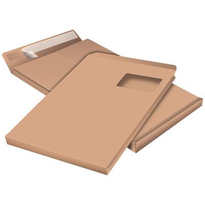 Pochette à soufflet 3 cm en kraft blond C - 229 x 324 mm 120g avec fenêtre - bande autoadhésive - boîte 250 unités (photo)