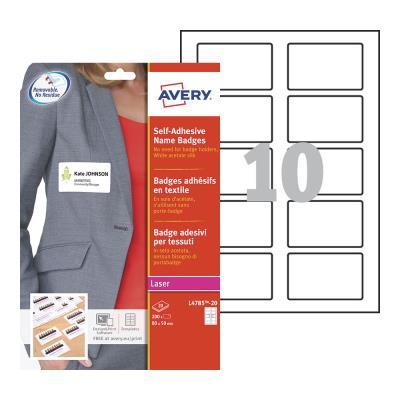Boite de 200 badges adhésifs en tissu blanc Avery - format 5 x 8 cm - impression laser (photo)