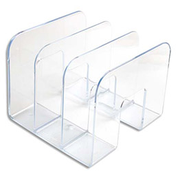 Porte catalogues 3 compartiments transparents - H16,5 x L21 x P21,5cm (photo)