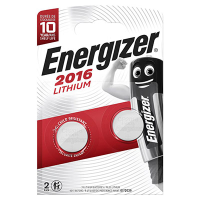 2 piles bouton CR2016 - pile lithium 3V - Energizer