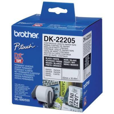 Rouleaux d'étiquettes Brother DK-22205 - noir/blanc - 62 mm x 30 m