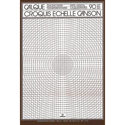 Bloc de papier calque Canson 17143 - croquis échelle - 50 feuilles - 90g - A4