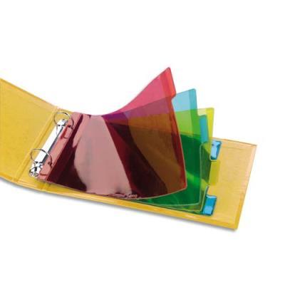Jeu d'intercalaires pour fiches bristol 4 positions à onglets format 14.8x21 cm en PVC 15/100e