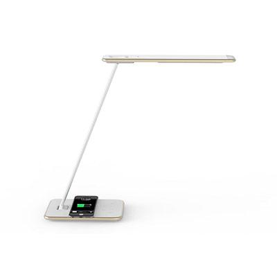 Lampe de bureau LED Orbit - puissance 10W - durée 35 000h - station de charge à induction - blanc / Or