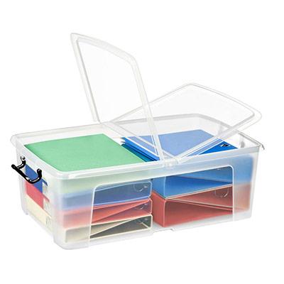 Boîte de rangement en plastique Strata - 50 L - couvercle clipsé - dim int 36 x 59,1 x 21,6 cm