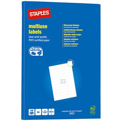 Étiquettes multi-usages - adhésion permanente - coins pointus - 26 x 70 mm - blanc - paquet 3300 unités (photo)