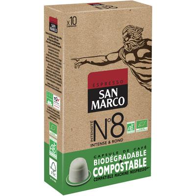 Capsule café bio San Marco - pour machine Nespresso - ristretto intensité n°8 - paquet 10 capsules