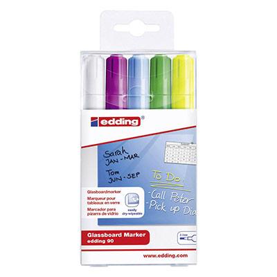 Marqueurs Edding E90 effaçables à sec - pour tableau en verre - pointe ogive - 5 coloris assortis