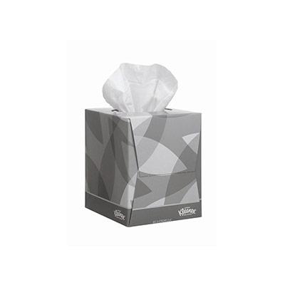 Mouchoirs format cube Kleenex - double épaisseur - 90 mouchoirs - 200 mm - blanc (photo)