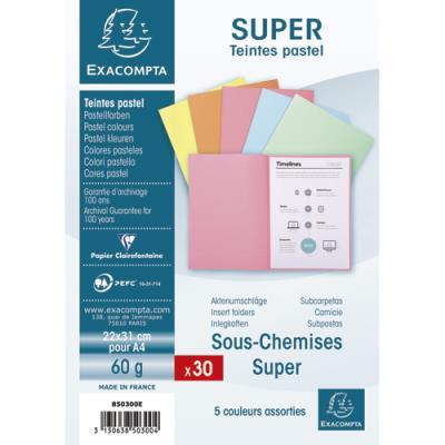 Sous-chemise Exacompta Super 60 - 60 g - coloris assortis pastels - 22 x 31 cm - paquet de 30