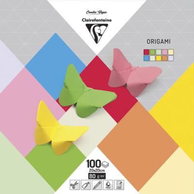 Paquet de 100 feuilles de papier pliages Origami 5 couleurs assorties 20x20cm Ecole