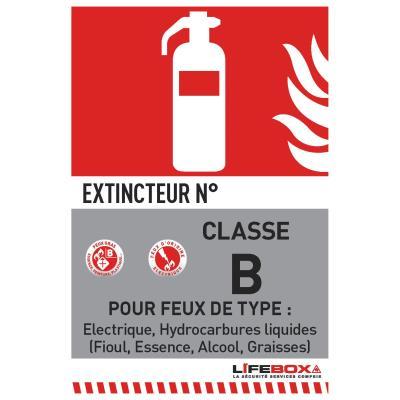 Panneau de signalisation Lifebox - classe feu B - présence d'extincteur CO2