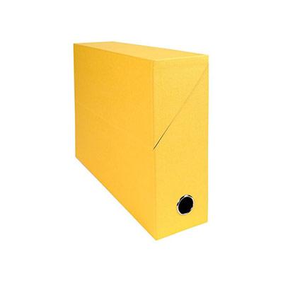 Boîte de classement en toile cartonnée Exacompta - pour 800 feuilles A4 maximum - 240 x 320 mm - largeur de dos 90 mm - jaune - Boîte 5 unités