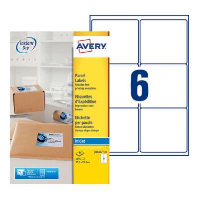 Etiquettes jet d'encre Avery J8166 - 25 planches - 99,1 x 93,1 mm - blanc - boîte de 150