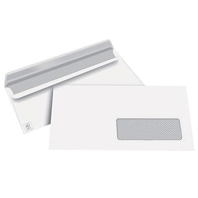 Enveloppes 110x220 1er prix - fenêtre 45 x 100 - blanches - autocollantes - 80g - boîte de 500