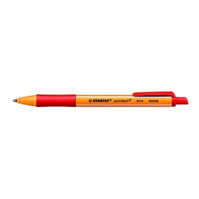 Stylo bille rétractable Pointball Stabilo - avec zone de préhension - pointe moyenne - corps en plastique rouge/jaune - encre rouge