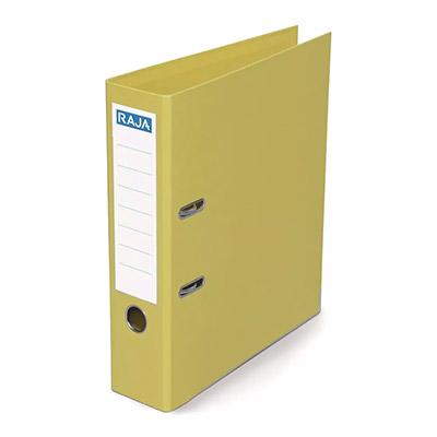 Classeur à levier Pergamy - polypropylène intérieur/extérieur - dos 8 cm - A4 - jaune