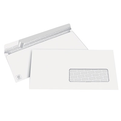 Enveloppe 110 x 220 mm 1er prix - fenêtre 45x100 - blanche - auto-adhésive - 80g - boîte de 500