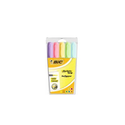 Surligneur Bic Highlighter Grip pastel - pochette de 5 couleurs assorties - paquet 5 unités