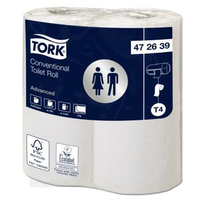 Papier toilette double épaisseur Tork Advanced T4 - 48 rouleaux - carton 12 x 4 rouleaux (photo)