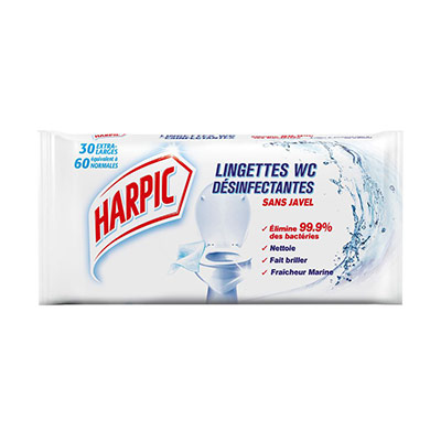 Lingettes WC désinfectantes Harpic - sachet de 30 extra-Larges - paquet 30 unités (photo)
