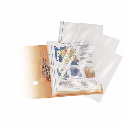 Pochettes perforées A4 polypropylène grainé 9/100 - boîte de 100 (photo)