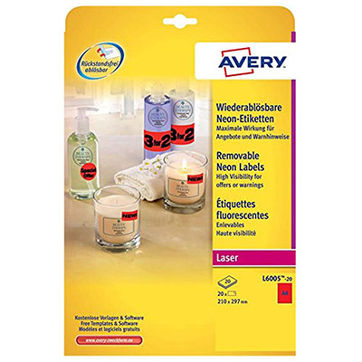 Étiquettes d'identification enlevables Avery couleur L6005 - 210 x 297 mm - 20 feuilles - 1 étiquette A4 par feuilles - rouge fluorescent - paquet 20 feuilles (photo)