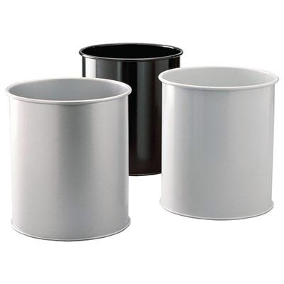 Corbeille à papier métal Durable - pleine ronde - 30 L - gris