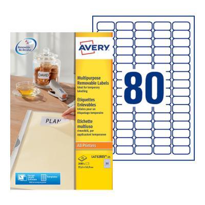 Etiquettes enlevables Avery L4732 - format : 35.6x16.9mm - impression laser - boîte de 2000