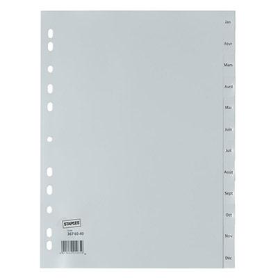 Intercalaires mensuels A4 en polypropylène - 12 divisions - gris - jeu 12 feuilles