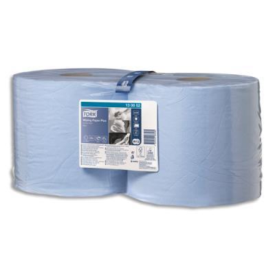 Lot de 2 bobines d'essuyage Tork Paper Plus bleu - 750 formats - 24 x 34 cm - 2 plis