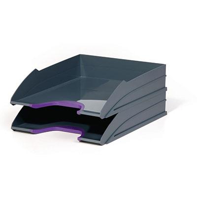 Set de 2 corbeilles à courrier Durable Varicolor - coloris gris / liseré violet