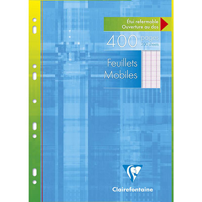 Feuilles mobiles Clairefontaine - 21x29.7 cm - grands carreaux - 90 g - blanc - 400 pages (photo)