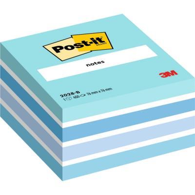 Post-it Bloc cube aquarelle 7.6 x 7.6 cm 450 feuilles coloris bleu