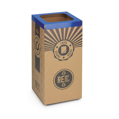 Poubelle de tri sélectif Stil Casa - en carton - pour le recyclage du papier - 60 litres - couvercle métal bleu