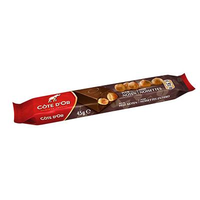 Barre de chocolat noir Côte d'Or avec noisettes entières - 45 g - paquet 32 x 45 grammes (photo)
