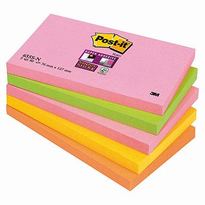 Notes Post-it Supersticky - 76 x 127 mm -  coloris néons assortis de 90 feuilles