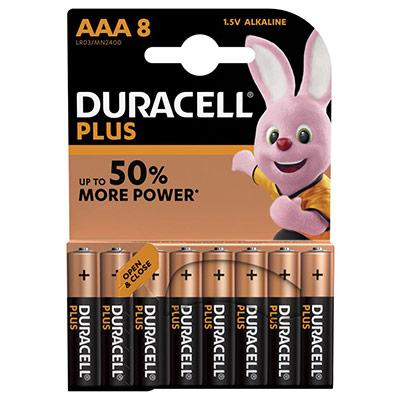 Pile Duracell AAA LR3 Plus Power alcalines - 1,5V - blister de 8 piles